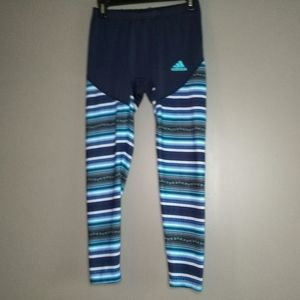 Adidas Blue Striped Climalite Leggings Sz L EUC!